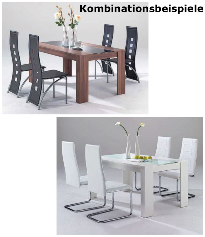 esszimmertisch esstisch tisch 180x90x75cm rico weiss glas schwarz ebay. Black Bedroom Furniture Sets. Home Design Ideas
