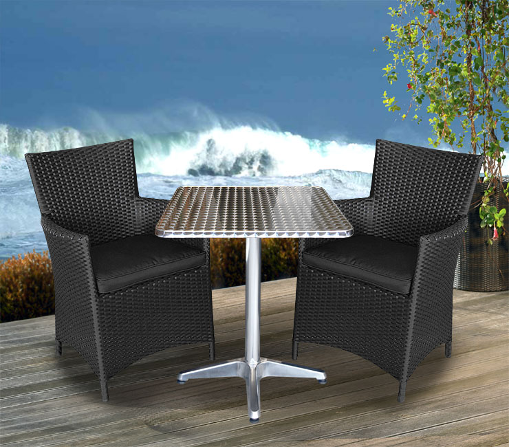 3tlg aluminium poly rattan bistro set 60cm balkonm bel sitzgruppe sessel schw ebay. Black Bedroom Furniture Sets. Home Design Ideas