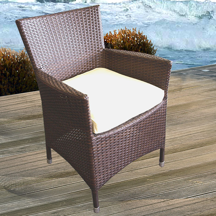 lounge poly rattan sessel gartensessel braun kissen beige ebay. Black Bedroom Furniture Sets. Home Design Ideas