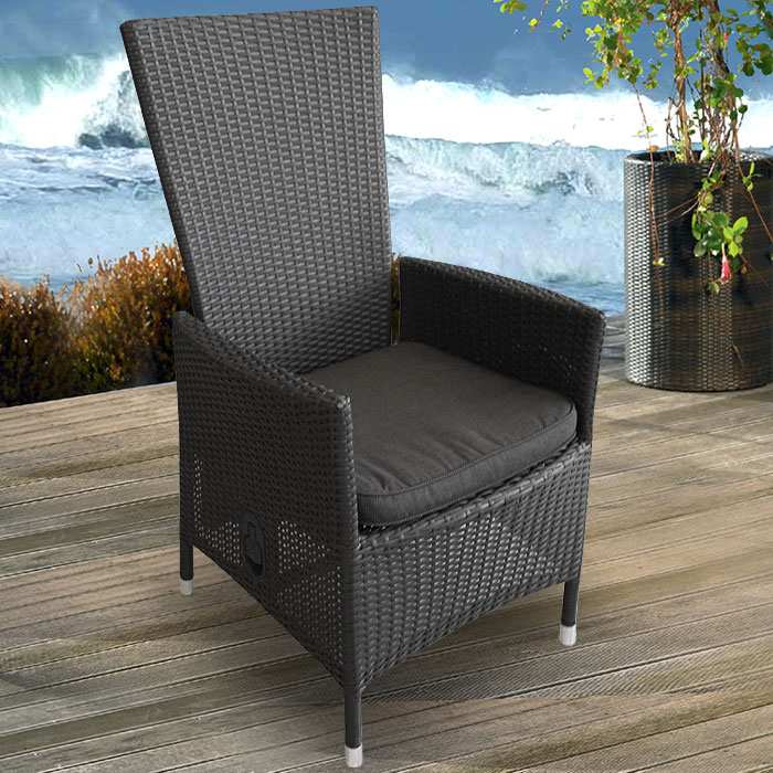 2x lounge poly rattan sessel gartensessel lea schwarz kissen schwarz ebay. Black Bedroom Furniture Sets. Home Design Ideas