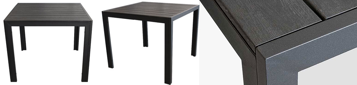 alu polywood tisch esstisch k chentisch gartentisch 90x90cm schwarz ebay. Black Bedroom Furniture Sets. Home Design Ideas