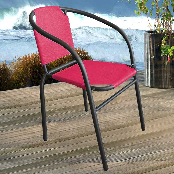 bistrostuhl gartenstuhl stapelstuhl metall textilen anthr pink ebay. Black Bedroom Furniture Sets. Home Design Ideas