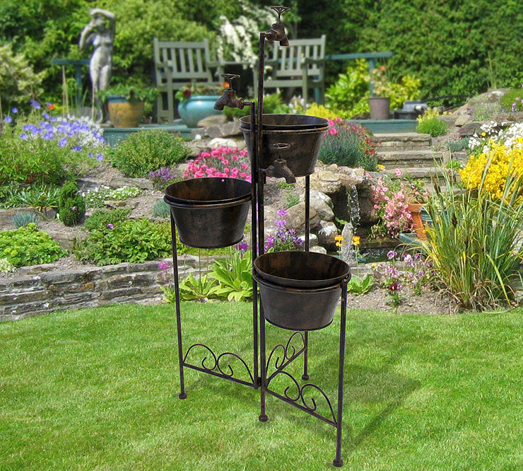 blumentopfhalter 3 blumenk bel antik look blumenregal blumenst nder gartendeko ebay. Black Bedroom Furniture Sets. Home Design Ideas