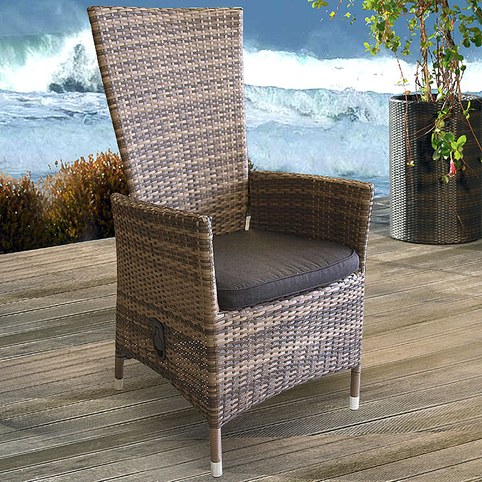 2x lounge poly rattan sessel gartensessel lea braun kissen schwarz ebay. Black Bedroom Furniture Sets. Home Design Ideas