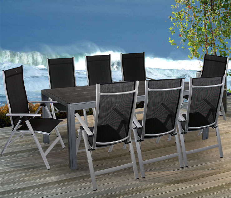 9tlg gartengarnitur aluminium non wood gartentisch 205x90cm hochlehner 7 pos ebay. Black Bedroom Furniture Sets. Home Design Ideas