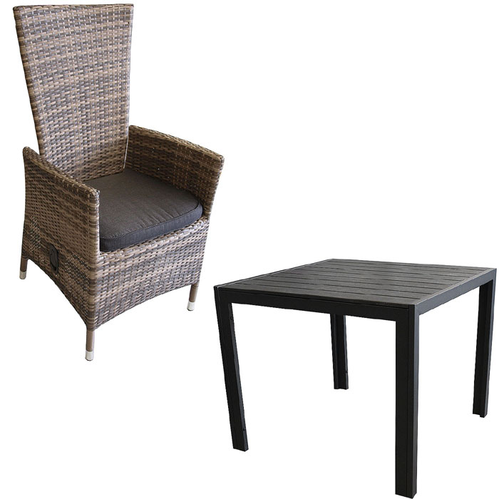 3tlg gartengarnitur alu non wood 90x90 poly rattan sessel br kissen schw ebay. Black Bedroom Furniture Sets. Home Design Ideas