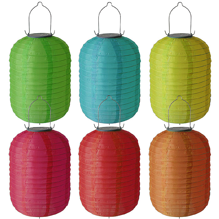 6x party garten solar lampion led solarlampe 20x29cm in 6 farben ebay. Black Bedroom Furniture Sets. Home Design Ideas