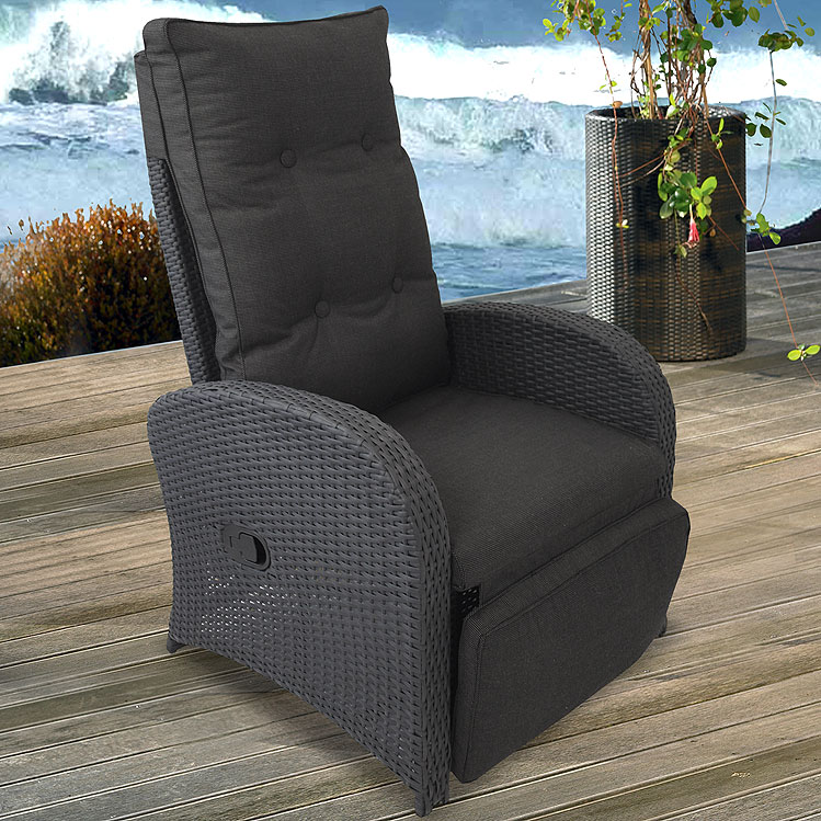 lounge poly rattan sessel gartensessel relaxsessel rattansessel auflage schw ebay. Black Bedroom Furniture Sets. Home Design Ideas