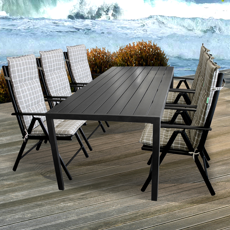 13tlg sitzgruppe gartengarnitur 205x90cm alu polywood gartenst hle auflagen ebay. Black Bedroom Furniture Sets. Home Design Ideas