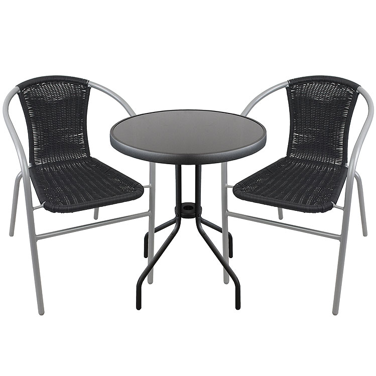 3tlg bistrogarnitur glastisch 60cm schwarz stapelbare bistrost hle poly rattan ebay. Black Bedroom Furniture Sets. Home Design Ideas