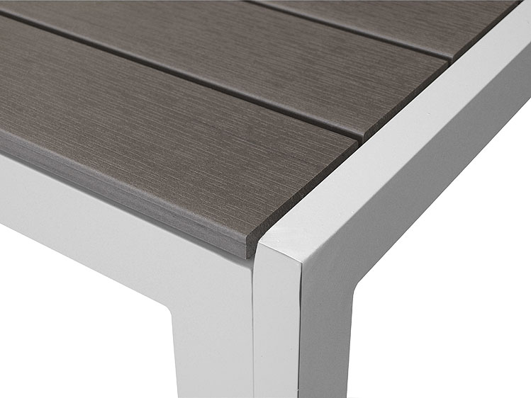 gartentisch aluminium tisch 205x90cm polywood esstisch alutisch silbergrau wei ebay. Black Bedroom Furniture Sets. Home Design Ideas