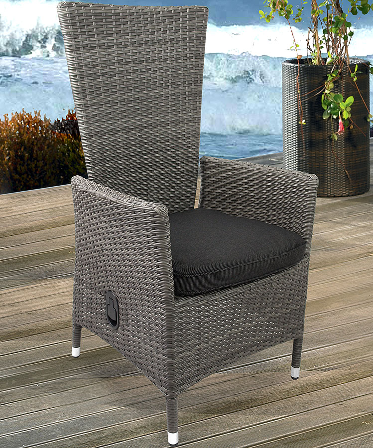 lounge poly rattan sessel gartensessel rattansessel nordic grey kissen schwarz ebay. Black Bedroom Furniture Sets. Home Design Ideas