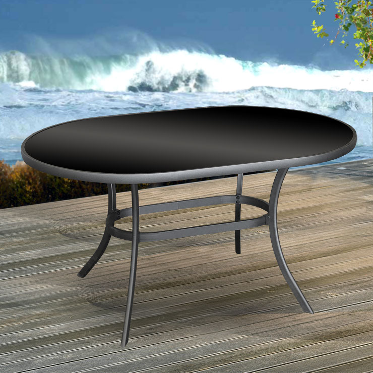 aluminium gartentisch glastisch oval 140x90 balkontisch esstisch terrassentisch ebay. Black Bedroom Furniture Sets. Home Design Ideas
