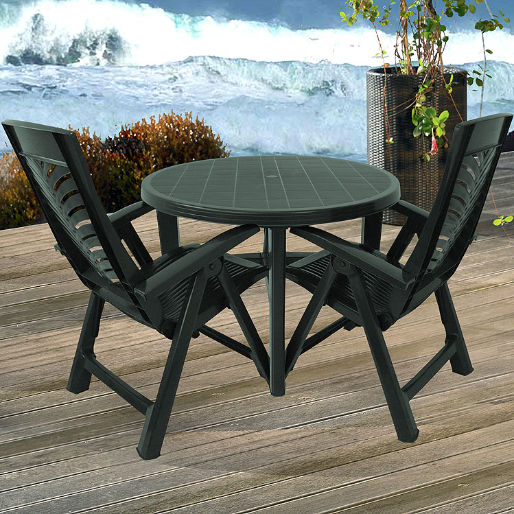 3tlg gartengarnitur gartentisch rund 110cm klappst hle 5 pos kunststoff gr n ebay. Black Bedroom Furniture Sets. Home Design Ideas