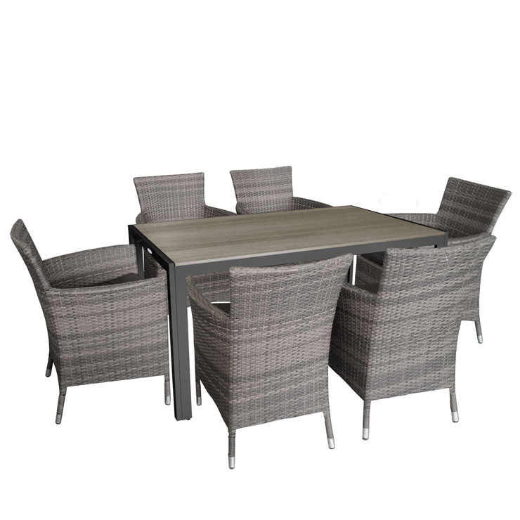 7tlg gartengarnitur terrassenm bel set polywood 150x90cm rattansessel kissen ebay. Black Bedroom Furniture Sets. Home Design Ideas