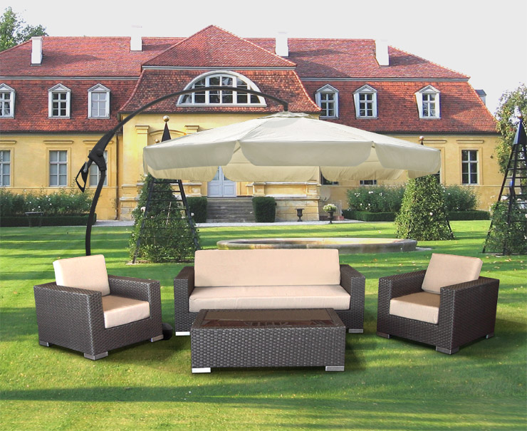 sonnenschirm ampelschirm kurbel fu 3 5m beige ebay. Black Bedroom Furniture Sets. Home Design Ideas