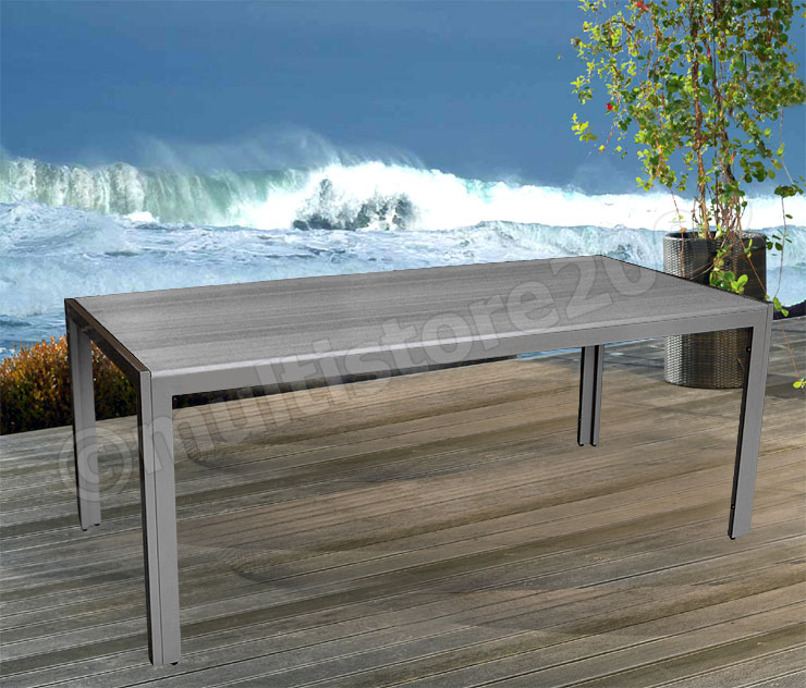 gartentisch aluminium tisch 205x90cm polywood anthrazit. Black Bedroom Furniture Sets. Home Design Ideas